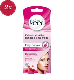 2er-Set Veet Kaltwachsstreifen Gesicht Normale Haut - 2 x 20 Streifen