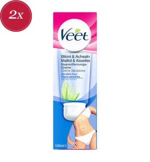 2er-Set Veet Enthaarungs-Creme Bikini & Achseln Sensitive Haut - 2 x 100 ml