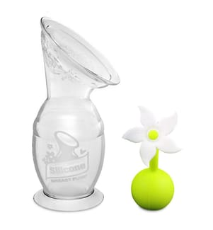 HAAKAA - Milchpumpe mit Saugfuss 150ml + Blumenverschluss Set - Weiss