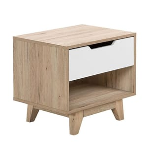 Nachttisch weiss / heller Holzfarbton SPENCER