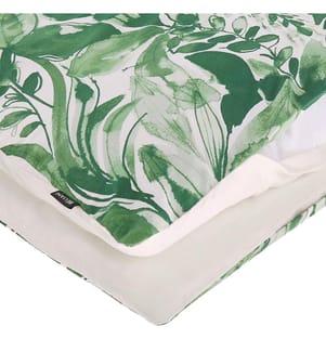 Bettwäsche Set weiss/grün, Baumwollsatin, 155 x 220 cm GREENWOOD