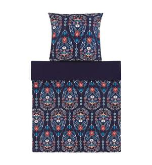 Bettwäsche Set dunkelblau / orange Baumwollsatin 135 x 200 cm MADRONA
