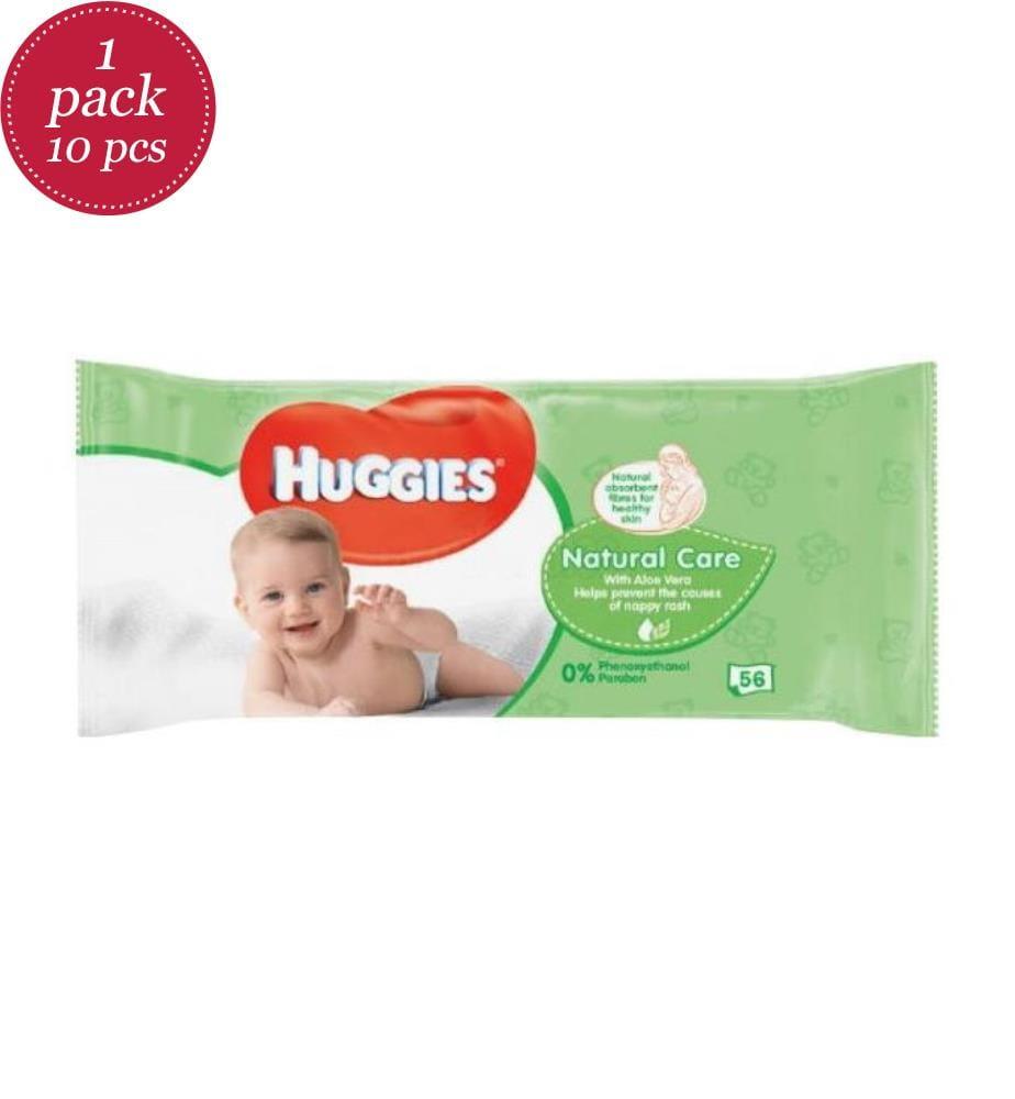HUGGIES - Baby Feuchttücher 56 Stk. Natural Care - EXP 05-23 - 10er-Set