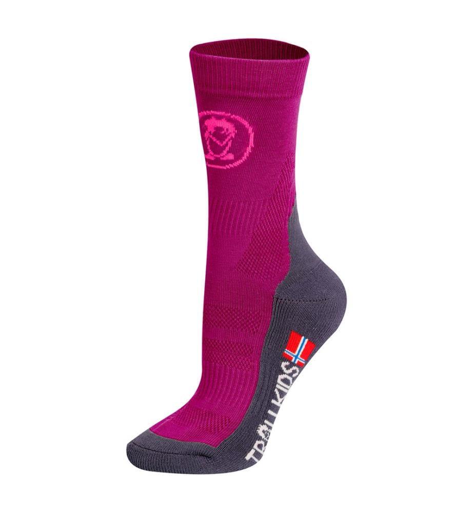 TROLLKIDS - 2er-Pack Socken Trekking Mid Cut - Dunkelrosa