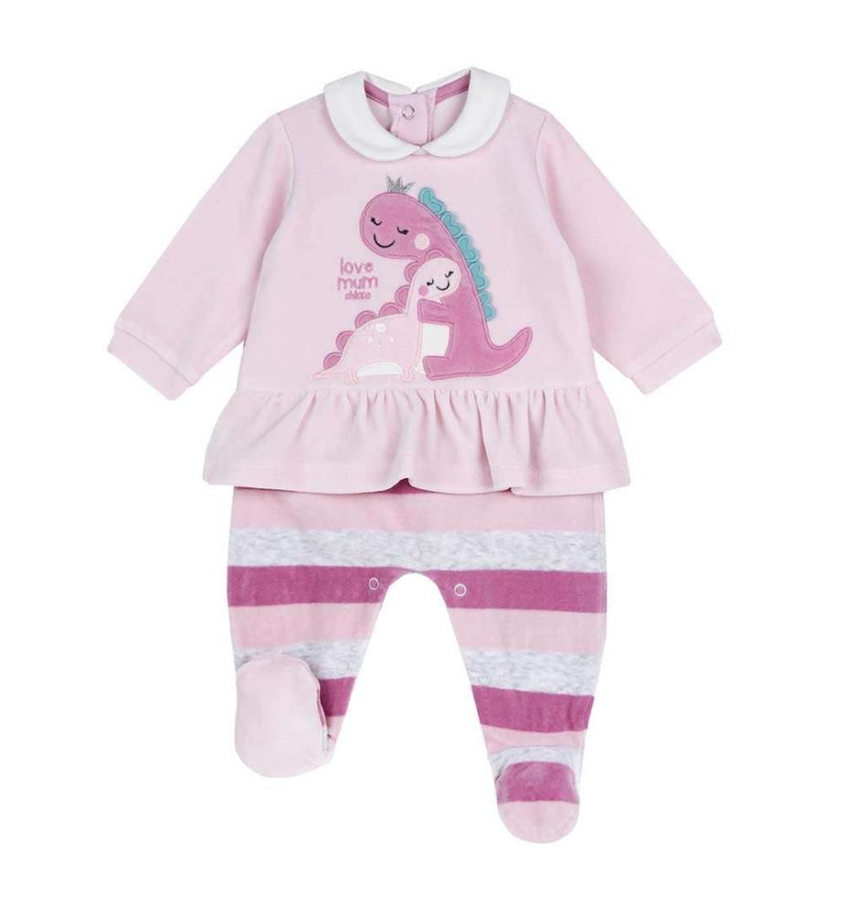 CHICCO - Chenille-Pyjama mit Dinosaurier-Muster