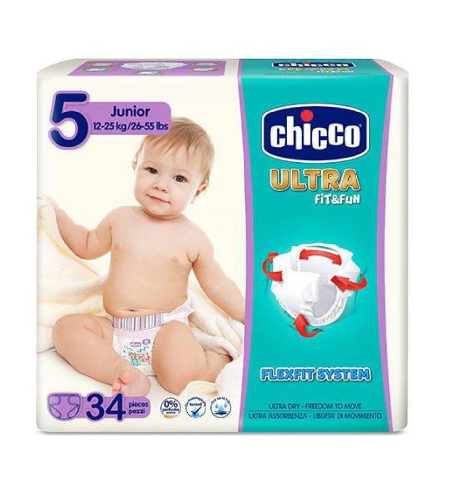 CHICCO - 1 Packung mit 34 Windeln Ultra Fit & fun - Grösse: 5