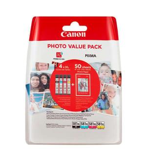 CANON - Tintenpatrone-Multipack CLI-581XL, CMYK + Fotopapier (4 x 8.3 ml)