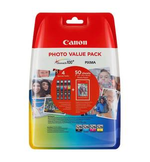 CANON - Tintenpatrone-Multipack CLI-526PA, CMYK + Fotopapier (4 x 9 ml,50 fl. 10 x 15 cm)