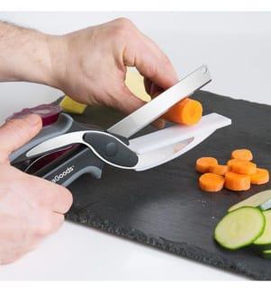 Scherenmesser Mit Integriertem Mini-Schnedibrett - Schwarz Und Silber