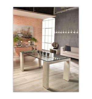 Tisch Millerighe - 200 x 90 x 76 cm - Dunkelgrau und Beige