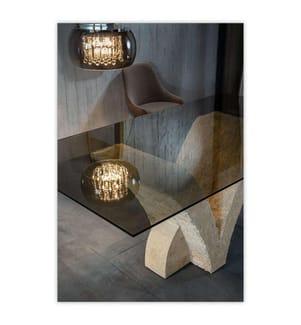 Tisch Papillon - 180 x 100 x 76 cm - Hellgrau und Beige