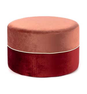 Sitzpouf Olivia - Roségold und Rot