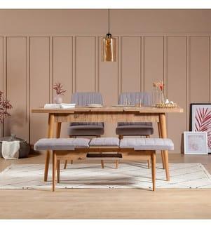 Ensemble Tisch & Stühle - Hellbraun