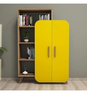 Bücherregal - Braun und Gelb