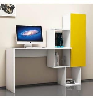 Schreibtisch Açelya - Weiss und Gelb