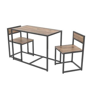 3-teiliges Tisch & Stuhl-Ensemble - Weiss und Hellbeige