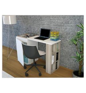 Schreibtisch Deyzi - Weiss und Hellbeige