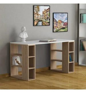 Schreibtisch Colmar - Weiss und Braun