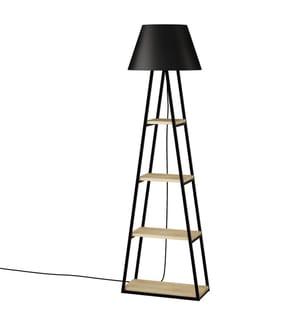 Stehlampe Pal - Schwarz und Hellbraun