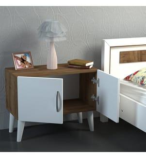Nachttisch Bellini - Braun und Weiss