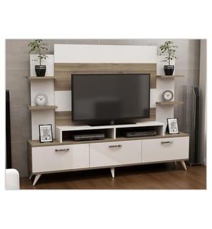 TV-Möbel Diana - Weiss und Dunkelbeige