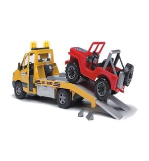 BRUDER - MB Sprinter Autotransporter m. Geländewagen, Light & Sound Modul inkl. Batterie - Profi-Serie aus Kunststoff 50x17.2x18.5cm