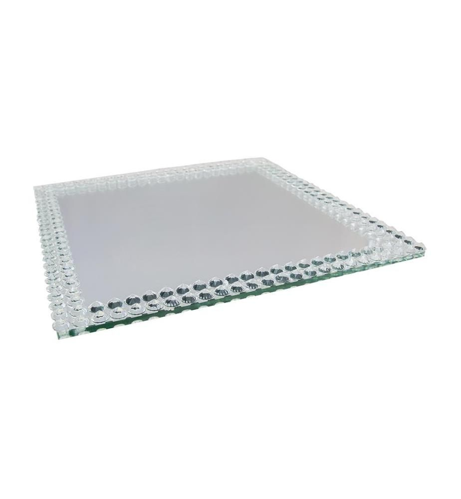 Quadratisches Tablett 40cm Spiegel - Silber