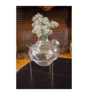 Vase Transparent Golden D.51H.32cm - Transparent
