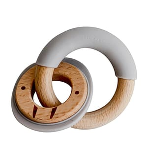 Beissring aus Silikon und Holz ChewRing grau