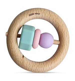 Beissring aus Silikon und Holz SiliGrip