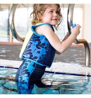 Kinder-Schwimmweste navyblau Palme - 4-5 Jahre