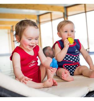 Baby-Neoprenanzug Babywarma navy mit Punkten - 0-6 Monate