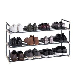 SONGMICS - Schuhregal Schuhständer mit 3 Ablagen für bis zu 15 Schuhe grau 92 x 54 x 30 cm (B x H x T) LSA13G