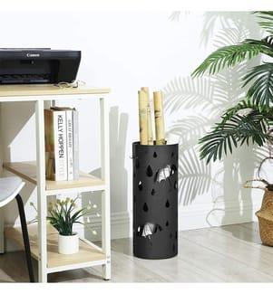 SONGMICS - Regenschirmständer aus Metall, 49 x Ø 19,5 cm, schwarz LUC23B
