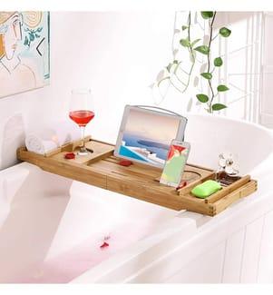 SONGMICS - ausziehbare Badewannenablage aus Bambus verstellbares Badewannenbrett Badewannen Ablagen, mit Getränkehalter, Buchstütze,Seifenhalter 75-109 x 4,5 x 23 cm (B x H x T) BCB88Y