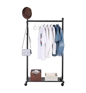 SONGMICS - Garderobenständer Kleiner Kleiderständer Kleiderstange mit Schuhablage und Rollen Metall, schwarz, 85,2 x 174 x 42,5 cm (B x H x T), HSR06B