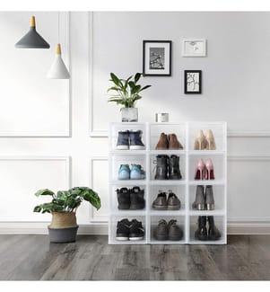 SONGMICS - Schuhbox, stapelbarer Schuhorganizer, Kunststoffbox mit durchsichtiger Tür, Schuhaufbewahrung, einfache Montage, 3er Set, 28 x 36 x 22 cm, für Schuhe bis Grösse 46 LSP03TP