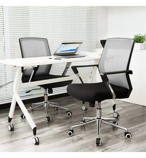 SONGMICS - Bürostuhl mit Netzbezug, höhenverstellbarer Chefsessel, Schreibtischstuhl mit Wippfunktion, Drehstuhl mit gepolsterter Sitzfläche, Stahlgestell, verchromt, 150 kg, grau-schwarz, OBN83GY