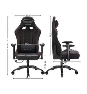 SONGMICS - Bürostuhl Gaming Stuhl mit hoher Rückenlehne Formschaum gepolsterte Sitzschale verstellbare Kopfkissen und Lendenkissen für Soho- oder Büroarbeit, schwarz, RCG001