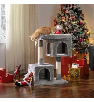 FEANDREA - Kratzbaum mit Grosser Plattform und 2 Plüschhöhlen Spielhaus, Kletterbaum für Katzen