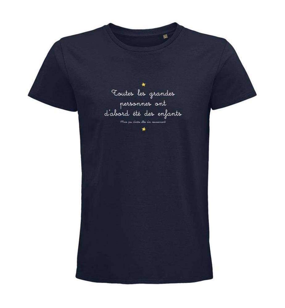 """Marineblaues T-Shirt """" Toutes les grandes personnes ont d'abord été des enfants typo """""""