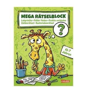 Mega Rätselblock – Labyrinthe, Fehler finden, Punkte verbinden, Zahlenrätsel, Buchstabenrätsel