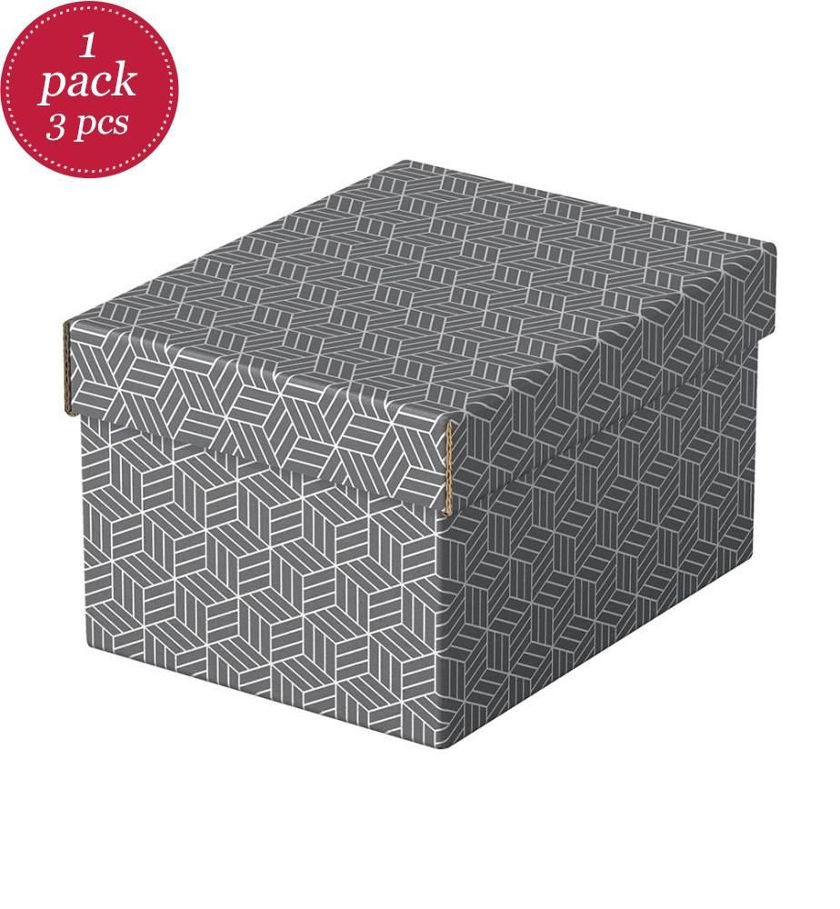 ESSELTE - 3er-Set Aufbewahrungsboxen Home S 255 x 200 x 150 mm, grau