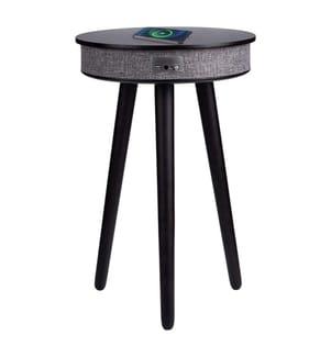 Table d'appoint en bois avec système audio Bluetooth et charge sans fil - Modèle Soundwood - Wengé
