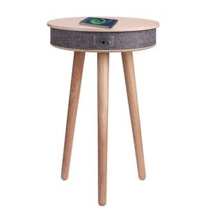 Table d'appoint en bois avec système audio Bluetooth et charge sans fil - Modèle Soundwood - Hêtre