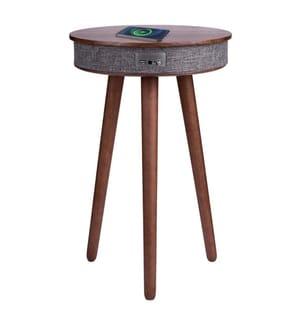Table d'appoint en bois avec système audio Bluetooth et charge sans fil - Modèle Soundwood - Merisier
