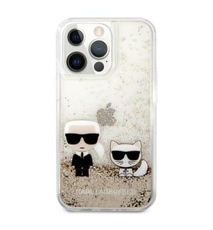 Karl Lagerfeld Glitter Karl & Choupette Schwebende Glitterhülle für iPhone 13 Pro Max - Gold