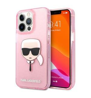 Karl Lagerfeld Transluzentes Glitzer-Etui für iPhone 13 Pro - Pink