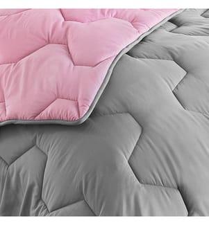 COLIBRI -  Duvet & Kopfkissen x2 - Abmessungen: 240 x 260 cm und Rosa und Grau