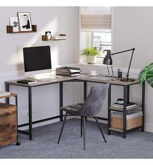 VASAGLE - Schreibtisch - 138 x 138 x 75 cm - Hellbraun und Schwarz